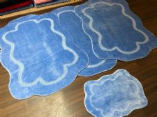 ROMANY WASHABLE CARVED DESIGNS SET OF 4 MATS XLARGE SIZE 100X140CM LIGHT BLUE